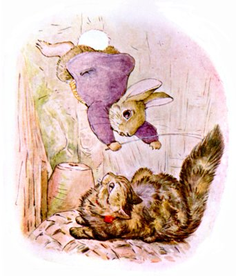 Original Illustration of rabbit in purple coat falling on cat, for Beatrix Potter Benjamin Bunny bedtime story