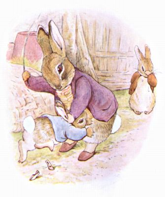 Original Illustration of rabbit in purple coat whipping Peter Rabbit, for Beatrix Potter Benjamin Bunny bedtime story