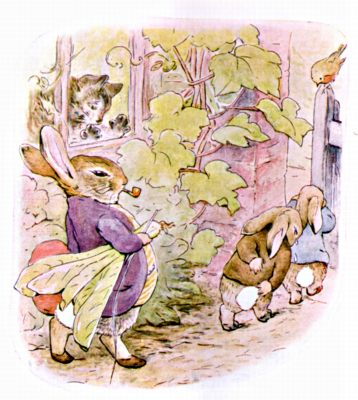 Original Illustration of rabbits rubbing bottoms after punishment, for Beatrix Potter Benjamin Bunny bedtime story