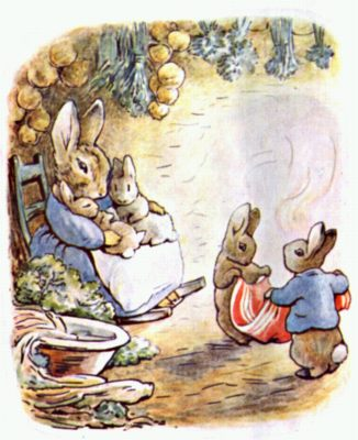 Original Illustration of baby rabbits with mother in hole, for Beatrix Potter Benjamin Bunny bedtime story