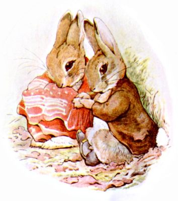 Original Illustration of two rabbits snuggling, for Beatrix Potter Benjamin Bunny bedtime story