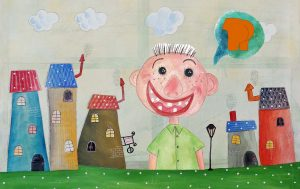 Illustration of laughing biy and bum speech bubble for short story for kids, The Emperor's New Clothes