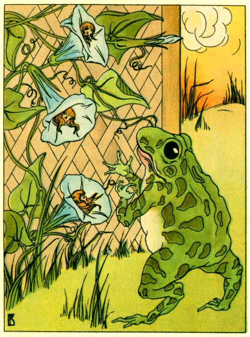 Original illustration of Freckle Frog in the garden with Morning Glory by Frances Beem for the kids short story How Freckle Frog Made Herself Pretty