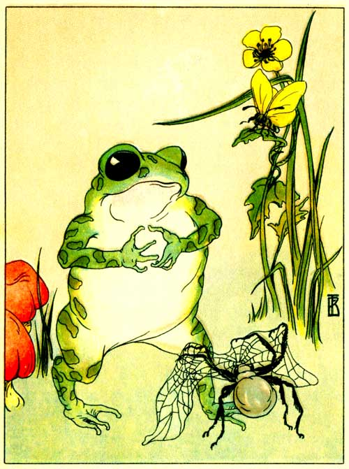 Original illustration of Freckle Frog receiving cobweb lace by Frances Beem for the kids short story How Freckle Frog Made Herself Pretty