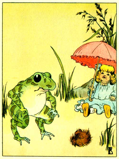 Original illustration of Freckle Frog with doll and umbrella for the kids short story How Freckle Frog Made Herself Pretty
