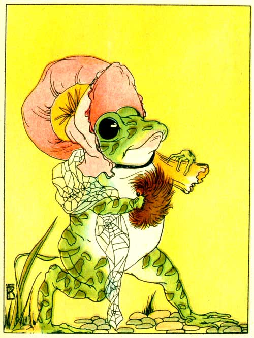 Original illustration of Freckle Frog all dressed up pretty for the kids short story How Freckle Frog Made Herself Pretty