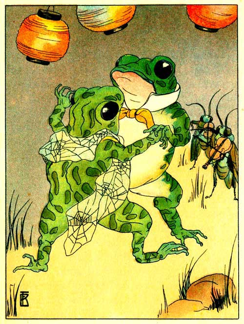 Original illustration of Freckle Frog dancing with partner for the kids short story How Freckle Frog Made Herself Pretty