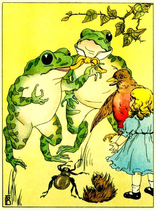Original illustration of Freckle Frog at a party with doll and bird, for the kids short story How Freckle Frog Made Herself Pretty