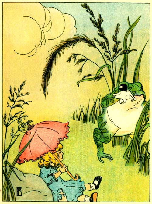 Original illustration of Freckle Frog and Mary doll by Frances Beem for the kids short story How Freckle Frog Made Herself Pretty
