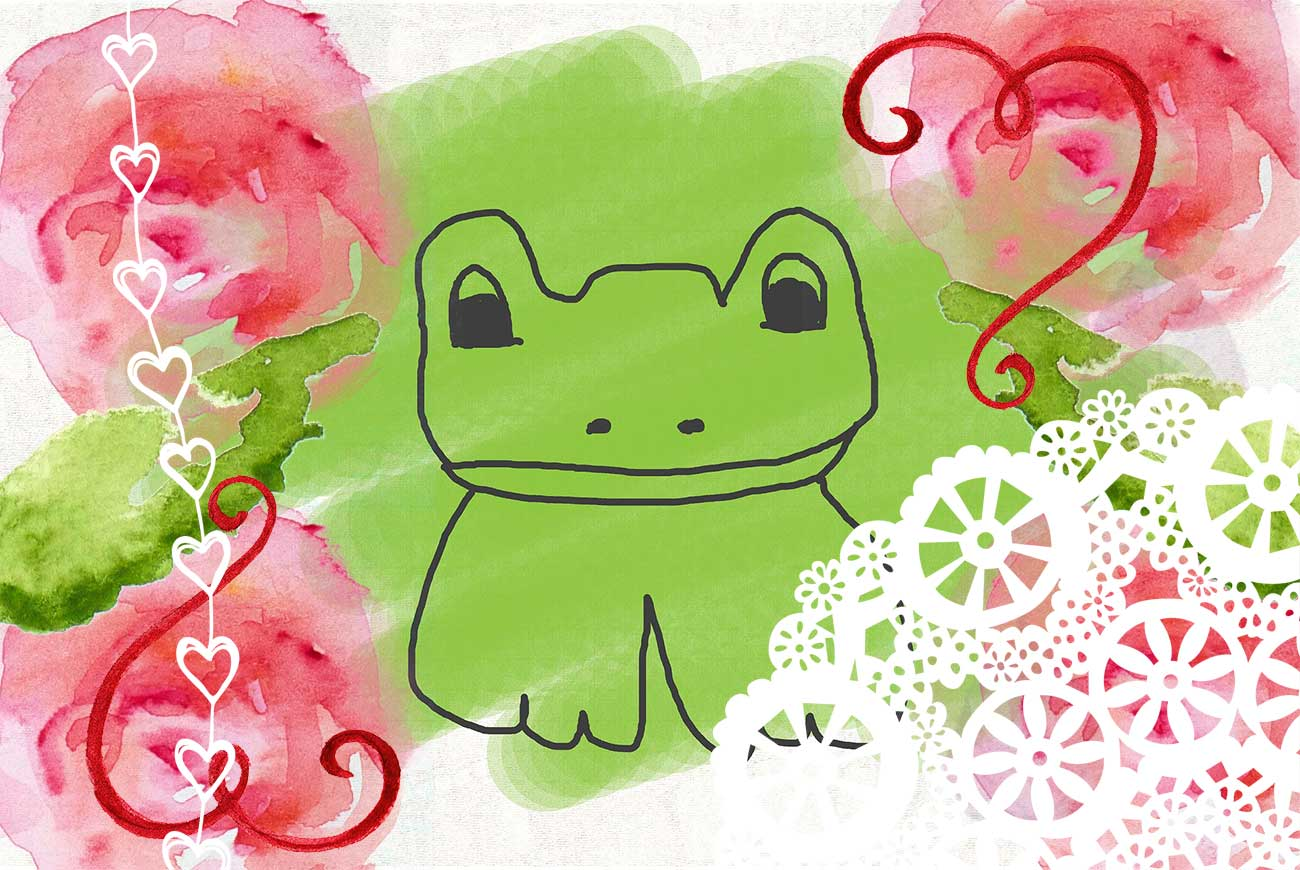 Illustration of pretty frog for bedtime story Freckled Frog Makes Herself Pretty