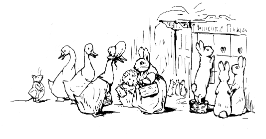 Original Beatrix Potter sketch of geese and rabbits shopping, for Ginger and Pickles bedtime story