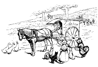 Original Beatrix Potter sketch of horse and cart and animals, for Ginger and Pickles bedtime story