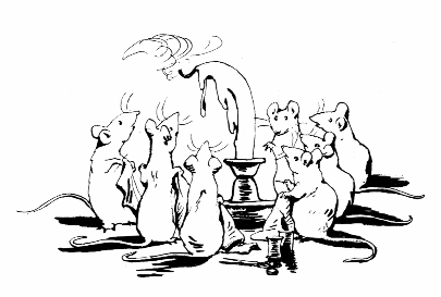 Original Beatrix Potter sketch of mice and melting candle, for Ginger and Pickles bedtime story