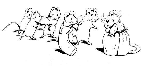 Original Beatrix Potter sketch of seven mice, for Ginger and Pickles bedtime story