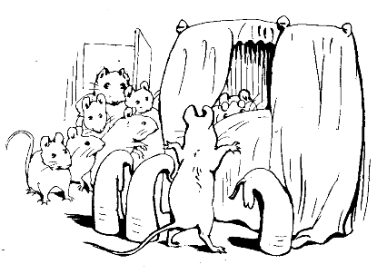 Original Beatrix Potter sketch of mice around bed, for Ginger and Pickles bedtime story