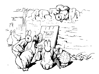 Original Beatrix Potter sketch of animals looking at for sale sign, for Ginger and Pickles bedtime story