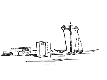 Original Beatrix Potter sketch of balance scales, for Ginger and Pickles bedtime story