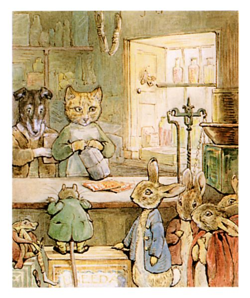 Original Beatrix Potter illustration of animals in shop, for Ginger and Pickles bedtime story