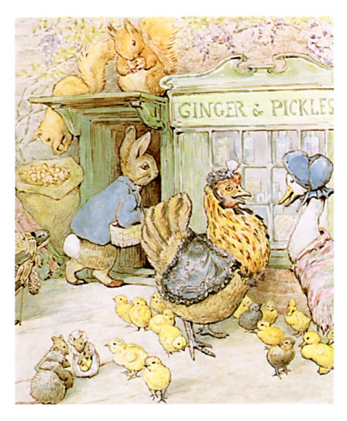 Original Beatrix Potter illustration of farm animals outside shop, for Ginger and Pickles bedtime story