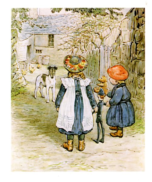 Original Beatrix Potter illustration of children and dog, for Ginger and Pickles bedtime story