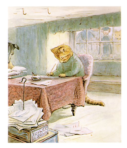 Original Beatrix Potter illustration of cat working at desk, for Ginger and Pickles bedtime story