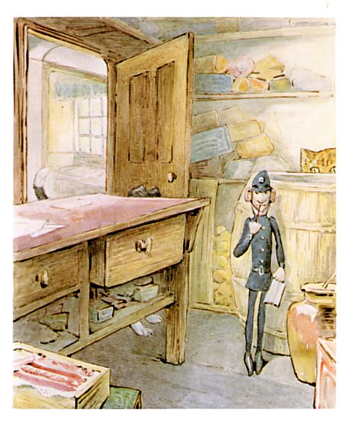 Original Beatrix Potter illustration of toy policeman, for Ginger and Pickles bedtime story