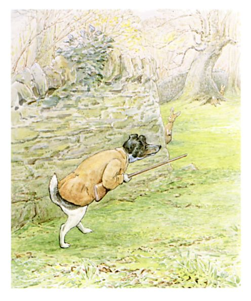 Original Beatrix Potter illustration of dog in waistcoat, for Ginger and Pickles bedtime story