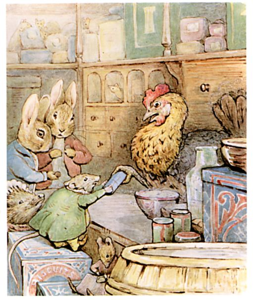 Original Beatrix Potter illustration of chicken, rabbits and mouse, for Ginger and Pickles bedtime story
