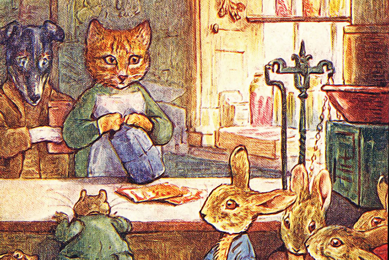 Illustration for Beatrix Potter's Ginger and Pickles bedtime story for children