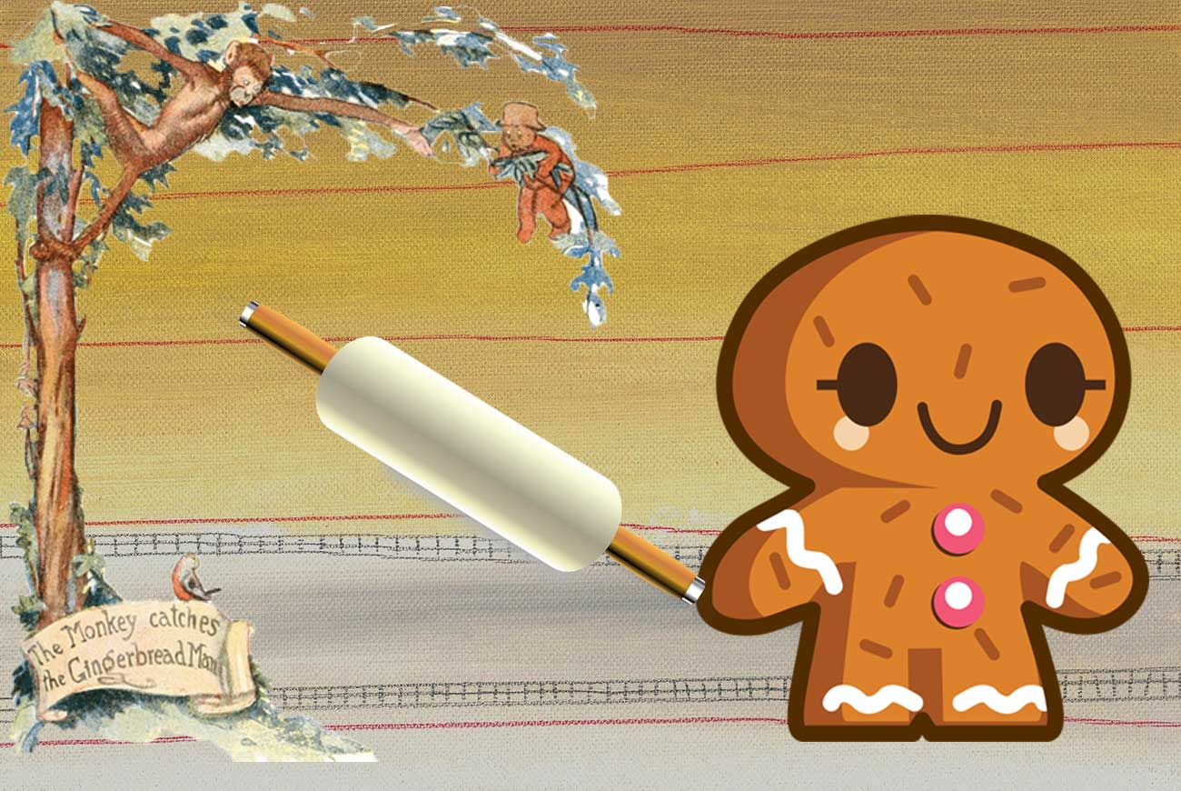 Illustration of gingerbread man and rolling pin for the Gingerbread Man short story for kids
