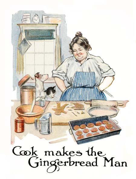 Vintage illustration of cook baking in kitchen, for The Gingerbread Man bedtime story
