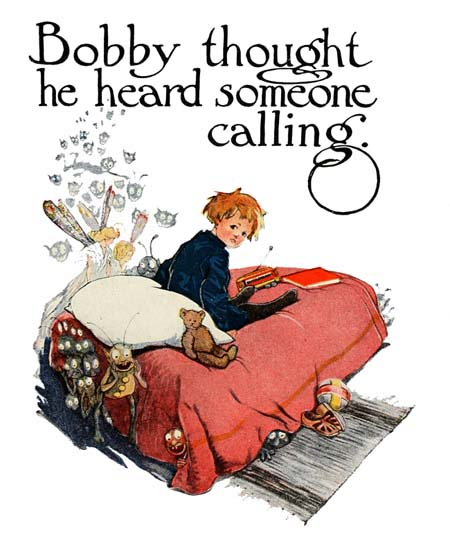 Vintage illustration of boy in bed reading, for The Gingerbread Man bedtime story