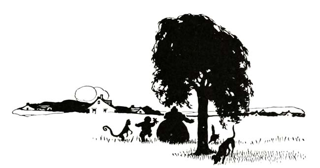 Vintage illustration of silhouettes on farm, for The Gingerbread Man bedtime story