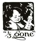 Vintage illustration of boy eating biscuit 1/3 gone, for The Gingerbread Man bedtime story