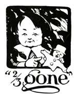 Vintage illustration of boy eating biscuit 2/3 gone, for The Gingerbread Man bedtime story
