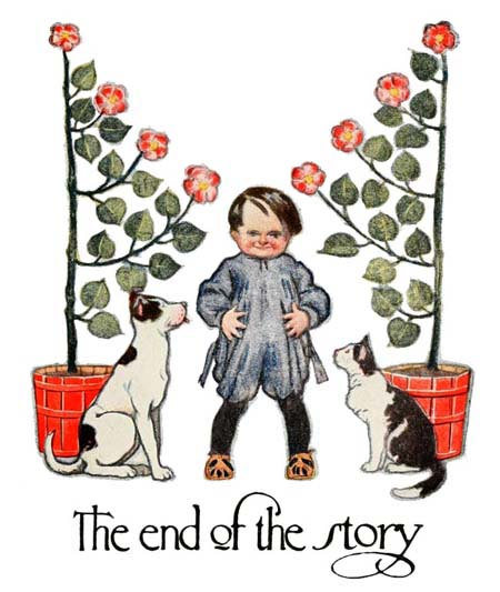 Vintage illustration of child, dog and cat, for The Gingerbread Man bedtime story
