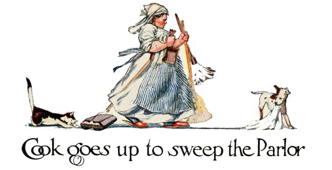 Vintage illustration of cook and broom for sweeping, for The Gingerbread Man bedtime story