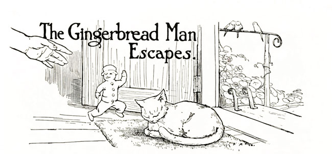 Vintage illustration of gingerbread man sneaking past sleeping cat, for The Gingerbread Man bedtime story