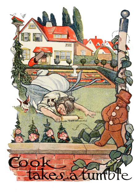 Vintage illustration of cook fall over flat on her face, for The Gingerbread Man bedtime story