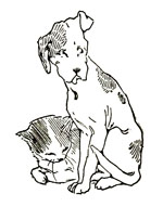 Vintage illustration of cat and dog, for The Gingerbread Man bedtime story