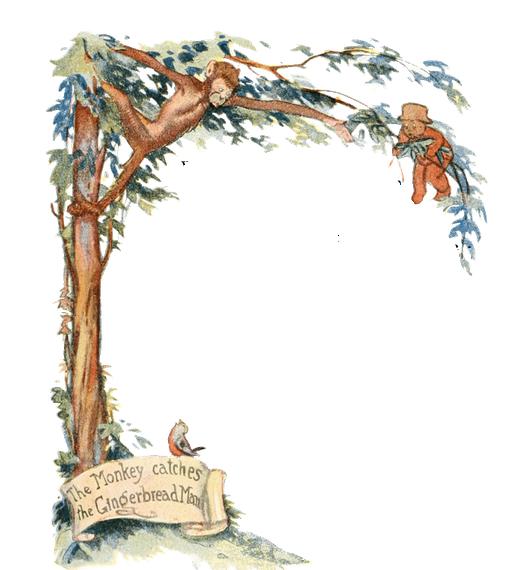 Vintage illustration of monkeys in tree, for The Gingerbread Man bedtime story