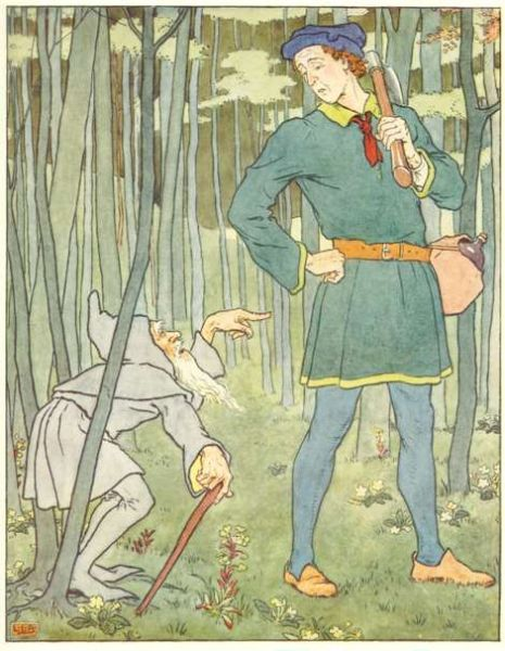 Vintage illustration of young man and old man, for the Golden Goose bedtime story