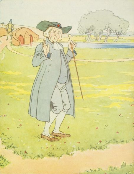 Vintage illustration of man with green hat, for the Golden Goose bedtime story