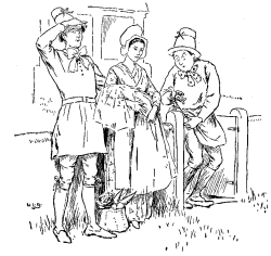 Vintage illustration of people at garden gate, for the Golden Goose bedtime story