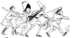 Vintage illustration of villagers running, for the Golden Goose bedtime story