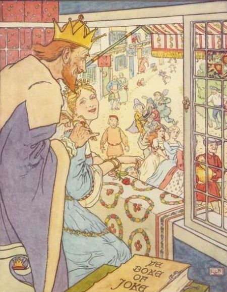 Vintage illustration of king and queen watching people dancing on street, for the Golden Goose bedtime story