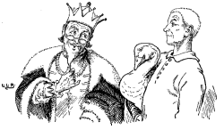Vintage illustration of king and goose, for the Golden Goose bedtime story