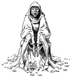 Vintage illustration of homeless man, for the Golden Goose bedtime story