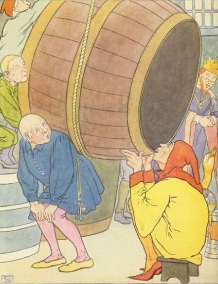Vintage illustration of man carrying barrel for the Golden Goose bedtime story