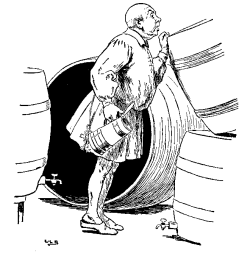Vintage illustration of man inspecting barrels for the Golden Goose bedtime story